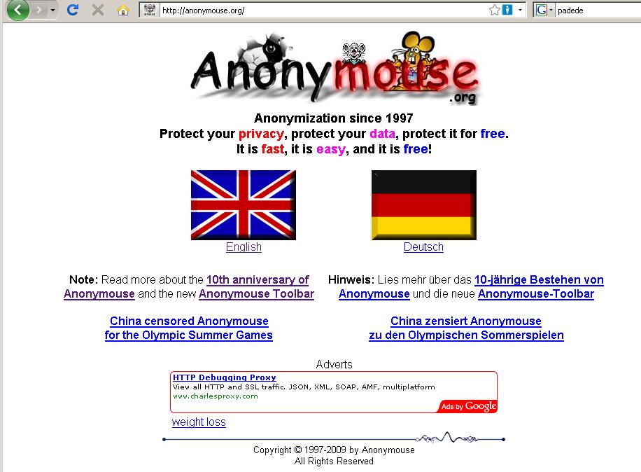 Anonymouse.org <-UA list :: udger.com